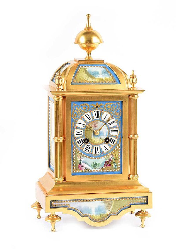 FRENCH GILT MANTLE CLOCK at Ross's Online Art Auctions