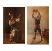 BOY DRINKING & BANJO PLAYER by 19th Century Italian School at Ross's Auctions