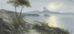 THE BAY OF NAPLES AT NIGHT by M. Gianni at Ross's Auctions