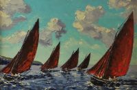 GALWAY HOOKERS, OFF INISHMORE by Ivan Sutton at Ross's Auctions