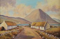 COTTAGES NEAR ERRIGAL, DONEGAL by Nigel Allison at Ross's Auctions