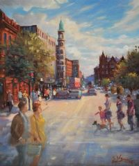 SUMMER LIGHT, DONEGALL SQUARE, BELFAST by Gerry Glynn at Ross's Auctions