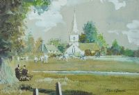 CRICKET IN THE PARK, BROCKHAM GREEN by John Victor Emms at Ross's Auctions