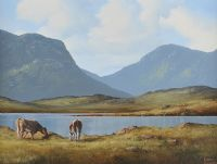 CATTLE, LOUGH INAGH, CONNEMARA by Eileen Meagher at Ross's Auctions