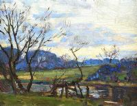 TREES BY THE RIVER LAGAN by Hans Iten RUA at Ross's Auctions