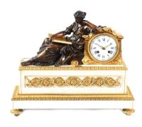 19TH CENTURY CARRERA MARBLE MANTLE CLOCK at Ross's Auctions
