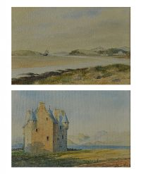 BLACK CASTLE & BARCALDINE CASTLE, LOCH CRERAN by A. Green at Ross's Auctions