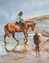 HORSE RIDING ON THE BEACH by Bobby Anderson at Ross's Auctions