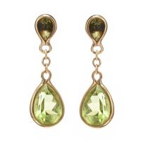9CT GOLD PERIDOT EARRINGS at Ross's Jewellery Auctions