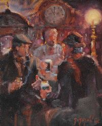 A CHAT AT THE BAR by Gerry Glynn at Ross's Auctions