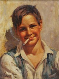 BOY WITH A CIGARETTE by Italian School at Ross's Auctions