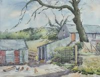 FARMYARD WITH CHICKENS by Mabel G. Young at Ross's Auctions