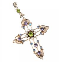 STERLING SILVER CROSS PENDANT SET WITH GEMSTONES at Ross's Jewellery Auctions