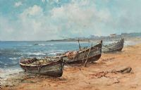 BEACHED FISHING BOATS by Alfred Allan at Ross's Auctions