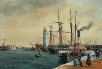 DONAGHADEE HARBOUR, SEPTEMBER 1895 by Joseph William  Carey RUA at Ross's Auctions
