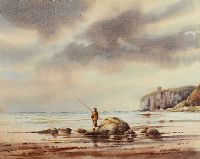 FISHING NEAR MUSSENDEN TEMPLE by Bobbie Anderson at Ross's Auctions