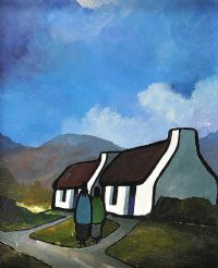 COTTAGE UNDER THE BLUE STACK MOUNTAINS, DONEGAL by Eileen Gallagher at Ross's Auctions
