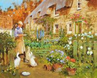 COTTAGE GARDEN AT SHARNBROOK, BEDFORDSHIRE by John Haskins at Ross's Auctions