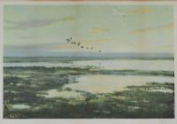 GEESE OVER WETLANDS by Peter Scott at Ross's Auctions