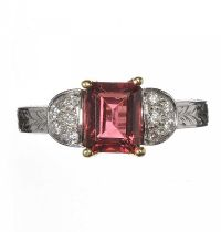 18CT WHITE GOLD PINK TOURMALINE AND DIAMOND RING at Ross's Jewellery Auctions