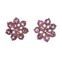 9CT GOLD AND PINK TOURMALINE CLUSTER EARRINGS at Ross's Jewellery Auctions
