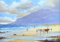 HORSES ON THE BEACH AT NEWCASTLE by K. Stewart at Ross's Auctions