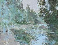 REFLECTIONS ACROSS THE RIVER by Terence P.  Flanagan RHA RUA at Ross's Auctions
