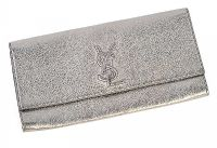 VINTAGE 1980'S YSL CLUTCH BAG IN METALLIC SILVER LEATHER at Ross's Auctions