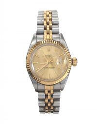 ROLEX 'OYSTER PERPETUAL DATEJUST' STAINLESS STEEL AND 18CT GOLD LADY'S WRIST WATCH at Ross's Auctions