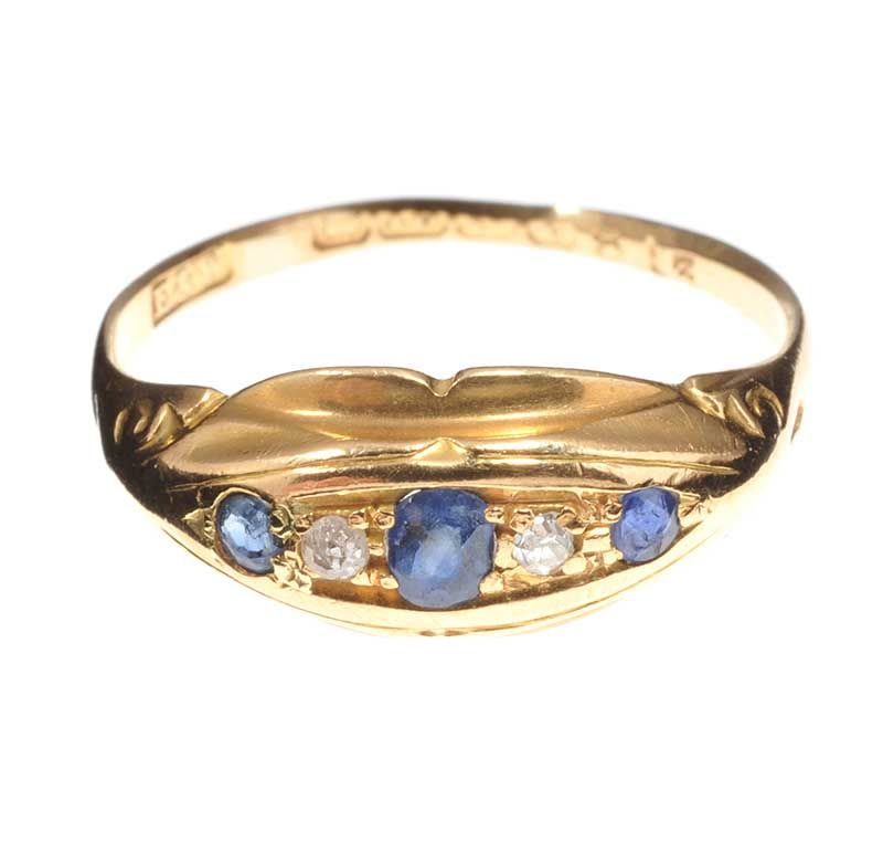 Ross Auction Sapphire And Diamond Ring
