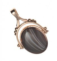 9CT GOLD OVAL SWIVEL FOB SET WITH BLOODSTONE AND AGATE at Ross's Jewellery Auctions