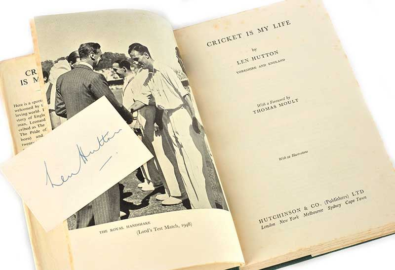 SIGNED BOOK BY LEN HUTTON at Ross's Online Art Auctions