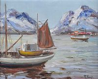 FISHING BOATS ON A LAKE by R. Engh at Ross's Auctions