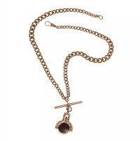 9CT GOLD ALBERT-CHAIN WITH HARDSTONE-SET SWIVEL FOB/WATCH KEY at Ross's Jewellery Auctions