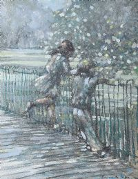 CHILDERN BY THE RAILINGS, BOTANIC PARK by Kieran McGoran at Ross's Auctions