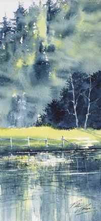 TREES BY THE RIVERBANK by Peter Shaw at Ross's Auctions