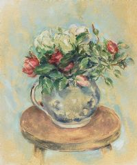 ROSES IN A GLASS JUG ON A STOOL by Stella Steyn at Ross's Auctions