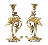 PAIR OF BRASS FIGURE CANDLESTICKS at Ross's Auctions