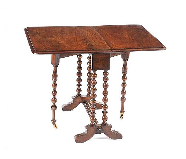 VICTORIAN SUTHERLAND TABLE WITH TURNED BOBBIN at Ross's Online Art Auctions