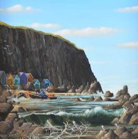 FISHERMEN NEAR BALLINTOY by George Callaghan at Ross's Auctions