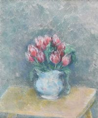 PINK TULIPS IN A BLUE JUG by Stella Steyn at Ross's Auctions