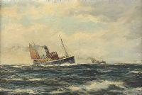 FISHING TRAWLERS IN ROUGH SEAS by Henry Scott FRSA at Ross's Auctions