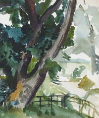 TREE BY THE RIVERBANK by Evie Hone HRHA at Ross's Auctions