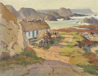 COTTAGES ON THE ANTRIM COAST by Maurice Canning  Wilks ARHA RUA at Ross's Auctions