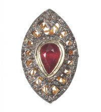 GOLD-PLATED SILVER RING SET WITH A PEAR-CUT GARNET AND DIAMONDS at Ross's Auctions