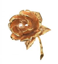 FRENCH GOLD-TONE METAL ROSE DRESS BROOCH WITH A CULTURED PEARL, SIGNED BOUCHER at Ross's Auctions
