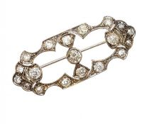 EDWARDIAN WHITE GOLD PIERCED BROOCH SET WITH DIAMONDS at Ross's Auctions
