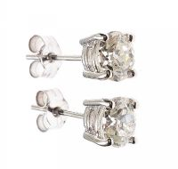 18CT WHITE GOLD AND DIAMOND EARRINGS at Ross's Auctions