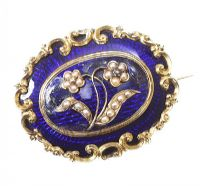 14CT GOLD, BLUE ENAMEL, DIAMOND AND SEED PEARL BROOCH IN FITTED BOX at Ross's Auctions