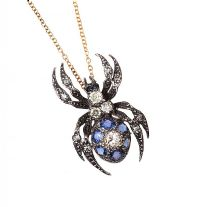 18CT GOLD SAPPHIRE AND DIAMOND SPIDER PENDANT AND CHAIN at Ross's Auctions